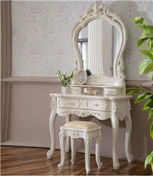 שידת איפור מעוצבת בצבע לבן - רהיטי עטרת