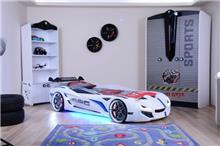 מיטת מכונית לילדים דגם פורמולה לבן (1) - רהיטי עטרת