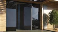 דלת כניסה דגם 1020 זכוכית שחורה