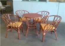 סט ישיבה מבמבוק + 4 כיסאות דגם קורל  - GARDENSALE
