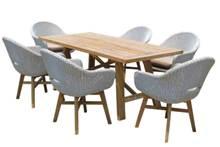 סט ישיבה עץ טיק בהיר + 6 כיסאות טולדו - GARDENSALE