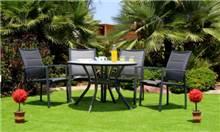 שולחן אלומניום עגול 105 + 4 כסאות עדן - GARDENSALE