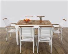 פינת ישיבה בשילוב עץ טיק + 6 כסאות - GARDENSALE