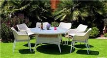 פינת אוכל עגולה אור + 6 כסאות שובל - GARDENSALE