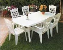 שולחן פלסטיק + 6 כסאות לירון - GARDENSALE