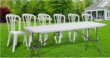 שולחן פלסטיק מתקפל + 6 כסאות - GARDENSALE