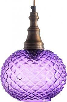 מנורה לתלייה מזכוכית AM264 סגול - הגלריה המקסיקנית
