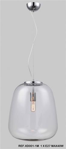 מנורת תליה קליר בינוני זכוכית שקופה - תמי ורפי תאורה מעוצבת