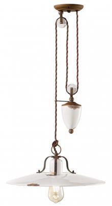 מנורת תליה לבנה קוטר 40 משקולת E-27