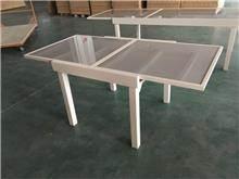 שולחן אלומיניום זכוכית - לה גן