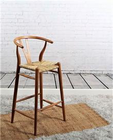 כסא בר מעץ טיק וראטן דגם אפק