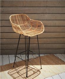 כסא בר מראטן טבעי דגם דניאל