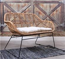 ספה זוגית מראטן טבעי דגם סהרונית - העץ הנדיב
