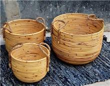 סט 3 סלים מבמבוק טבעי דגם נחלים - העץ הנדיב