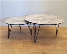 שולחן סלוני סט שולחנות עגולים דגם Marbel