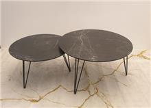שולחן סלוני זוג שולחנות עגולים Black marble - + HOME