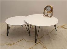 שולחן סלוני זוג שולחנות עגולים דגם White - + HOME
