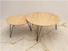 שולחן סלוני סט שולחנות עגולים אלון טבעי