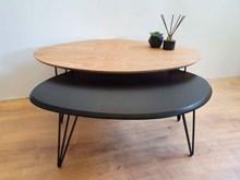 שולחן סלוני סט שולחנות A730 אורן ושחור
