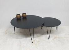 שולחן סלוני סט שולחנות עגולים Black