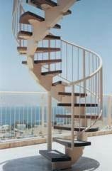 מדרגות לוליניות לבנות עם משטחים שחורים - קו נבון