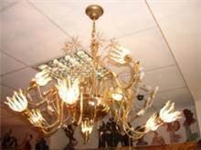 מנורת תלייה זהב 24 קראט בשילוב קריסטל