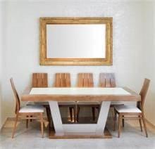 שולחן מסגרת עץ עם זכוכית מט רגל אלומיניו
