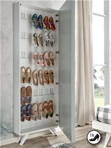 ארון נעליים צר עם מראה