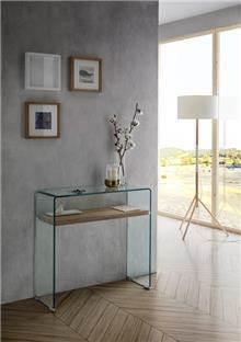 קונסולה זכוכית ומדף עץ - DUPEN (דופן)