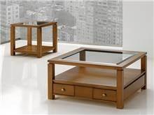 שולחן סלון מעץ בשילוב זכוכית