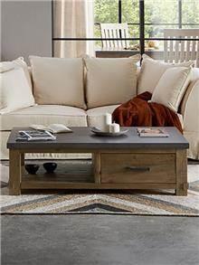 שולחן סלון מעץ מלא ובטון - DUPEN (דופן)