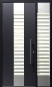 דלת פלדה כנף וחצי בשילוב זכוכית