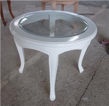 שולחן צד עגול לבן