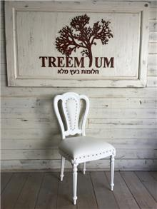 כיסא אוכל עם ריפוד עור - Treemium - חלומות בעץ מלא