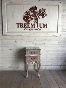שידה קטנה בגימור כסף - Treemium - חלומות בעץ מלא
