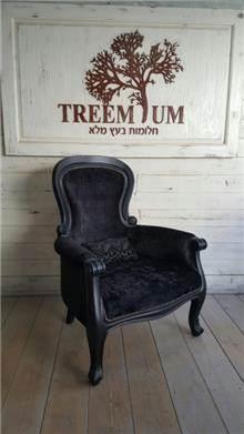 כורסאת קטיפה שחורה - Treemium - חלומות בעץ מלא