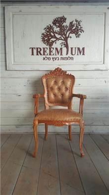 כיסא מפואר עץ מלא עם ידיות - Treemium - חלומות בעץ מלא