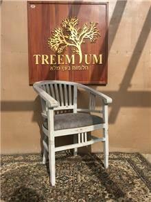 כיסא עץ מלא בגימור אפור  - Treemium - חלומות בעץ מלא