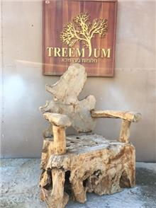 כיסא אומנותי כפרי - Treemium - חלומות בעץ מלא