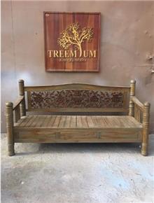 ספסל כפרי גב גילוף - Treemium - חלומות בעץ מלא