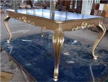 שולחן אוכל גוון עץ זהב - Treemium - חלומות בעץ מלא