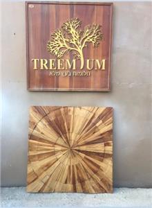 תמונת קיר מרובעת עץ טיק - Treemium - חלומות בעץ מלא