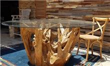 שולחן בשילוב שורש טיק - Treemium - חלומות בעץ מלא