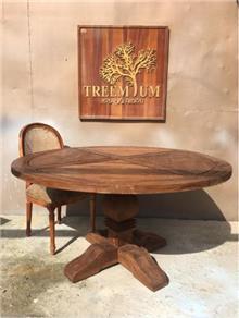 שולחן עגול כפרי עץ ממוחזר - Treemium - חלומות בעץ מלא