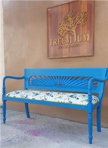 ספסל כחול וינטג' - Treemium - חלומות בעץ מלא
