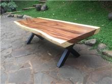 שולחן סלון גזע פרוס ללא חיבורים רגל איקס נפחות - Treemium - חלומות בעץ מלא