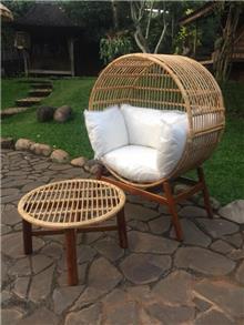 כורסא מעגולת במבוק בשילוב טיק - Treemium - חלומות בעץ מלא